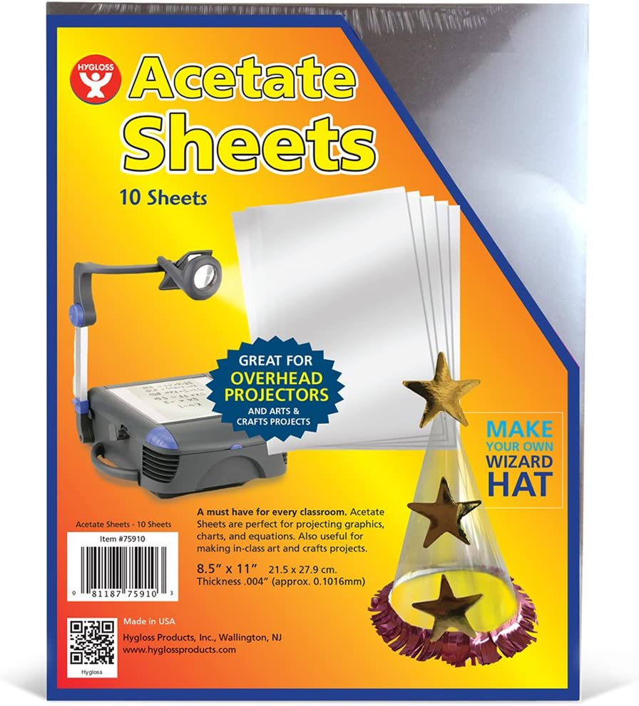 """Hygloss Products Overhead Projector Sheets Transparency Film, For Arts And Craft Projects and Classrooms, Not for Printers, 8.5"""" x 11"""", 10 Sheets"""