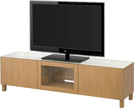 IKEA BESTA - Mueble TV con puertas de roble efecto Lappviken ...