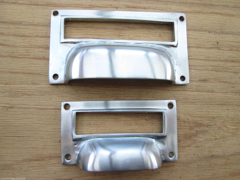 tama/ño peque/ño Tirador de lat/ón macizo para armarios archivadores con ventana para etiqueta lat/ón pulido 7,6 cm Ironmongery World/®