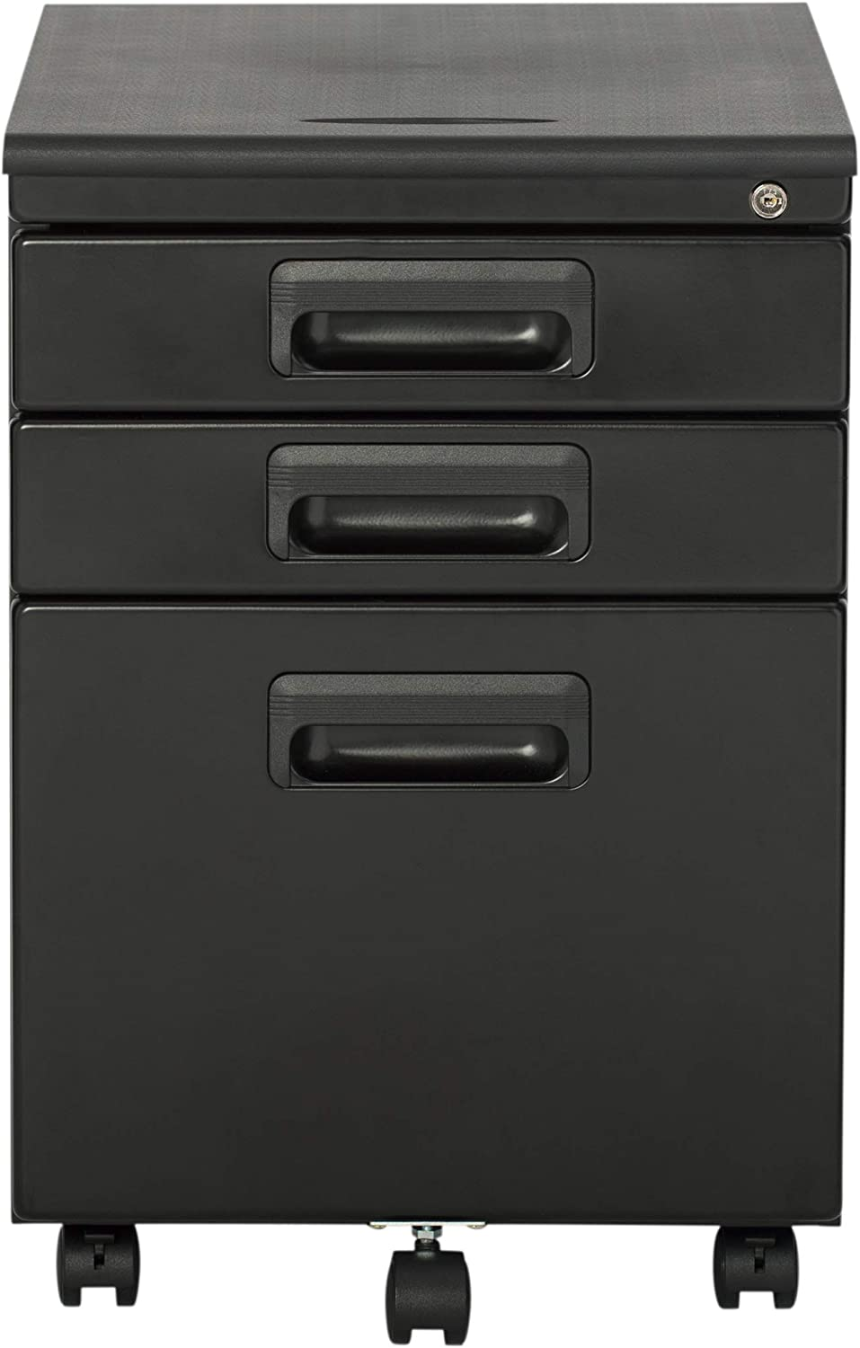 Craft Hobby Essentials Black Metal 3 Vertical Mobile Filing Cabinet 15 75 W X 22 D Craft Supply Storage With Locking Drawers