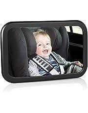 amzdeal Rücksitzspiegel für Babys, bruchsicherer Spiegel für Auto Baby mit großem Sichtfeld, Babyspiegel ohne Einzelteile/Schrauben, 360° schwenkbar, Größe 300 x 190 x2,8mm
