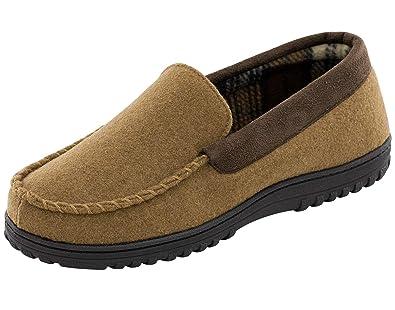 7d83216ab786 Men s Memory Foam Plush Fleece Lined Moccasin Slippers