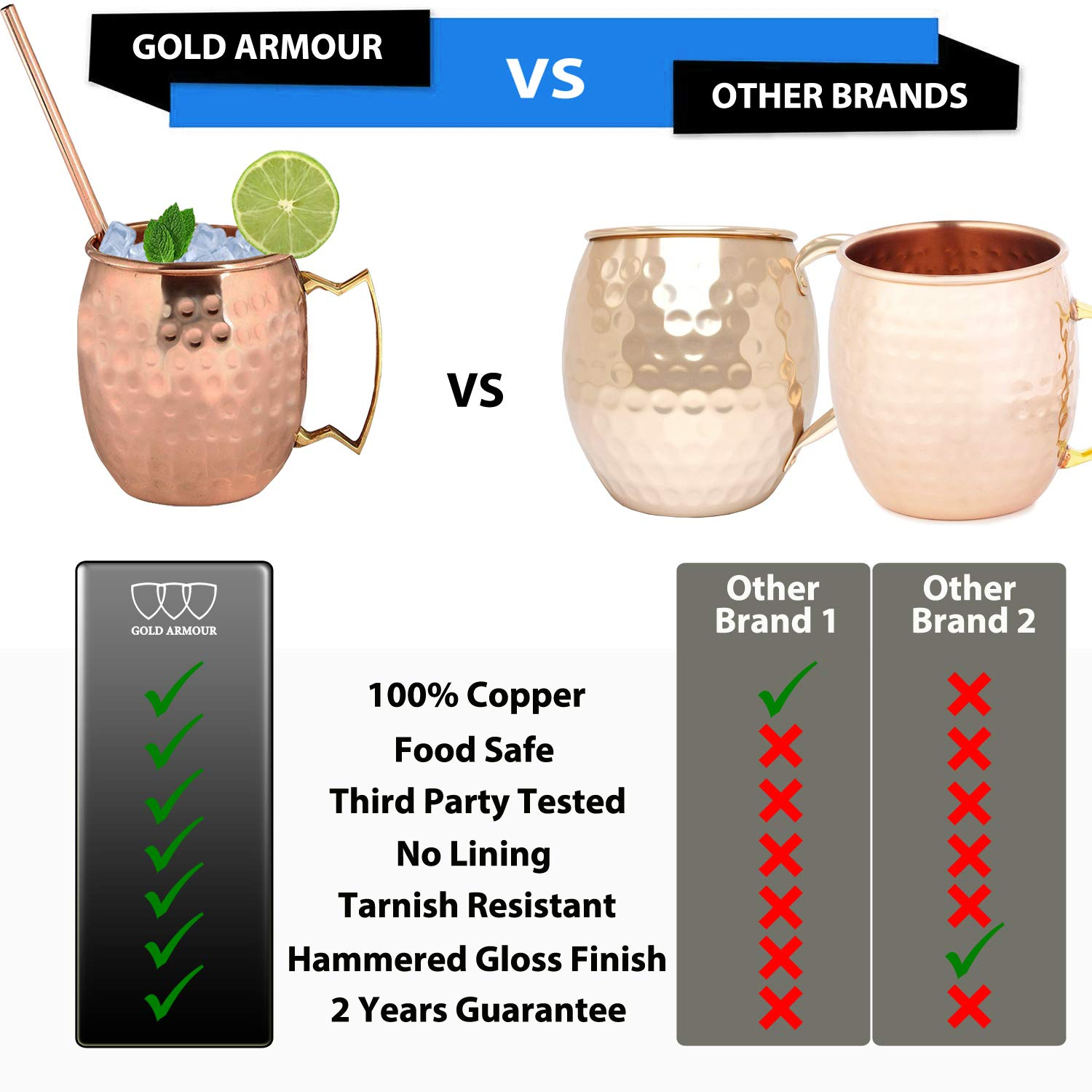 Moscow Mule Copper Mugs - Set of 4-100% HANDCRAFTED - Food Safe Pure Solid Copper Mugs - 16 oz Gift Set with BONUS: Highest Quality Cocktail Copper Straws and Jigger! (Copper) by Gold Armour (Image #3)