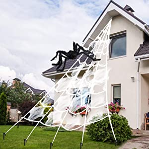 AODINI Spider Web Halloween Decorations, 1615 Feet Triangular Huge Halloween Decor Spider Net for Indoor Outdoor Haunted House Theme Parties - White