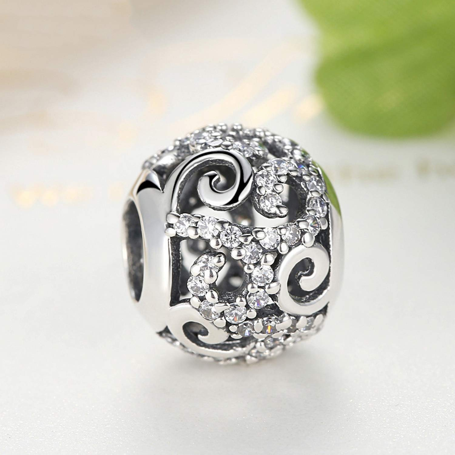 EverReena Beads Openwork Charm with Clear Cubic Zircon for Silver Bracelets