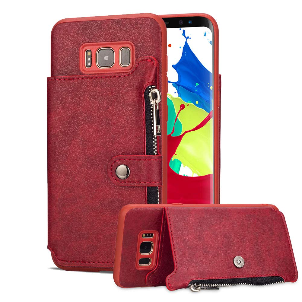 Aearl Samsung Galaxy S8 Plus Zipper Wallet Case,Galaxy S8 Plus Leather Case with Card Holder,Flip Folio Credit Card Slot Money Pocket Magnetic Detachable Buckle Wallet Phone Case for Women Men-Red