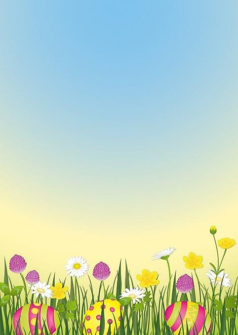 Cancelleria Pasqua - Uova di Pasqua in prato di fiori colorato DIN ...