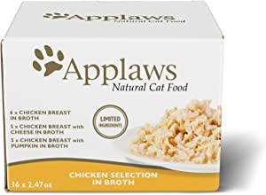 Applaws Cat Food Can - Grain Free   Wet Canned Cat Food   2.47oz - 16 Pack - Premium Nutrition, 100% Natural, No Additives, and Limited Ingredients (Chicken Multipack)