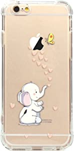 JAHOLAN iPhone 6 Case, iPhone 6S Case Amusing Whimsical Design Clear Bumper TPU Soft Case Rubber Silicone Skin Cover for iPhone 6 6S - Cute Elephant