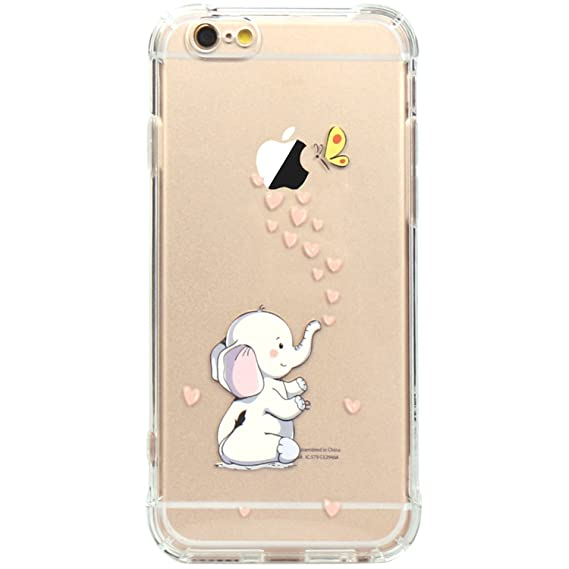 online store 62c75 5a458 JAHOLAN iPhone 6 Case, iPhone 6S Case Amusing Whimsical Design Clear Bumper  TPU Soft Case Rubber Silicone Skin Cover for iPhone 6 6S - Cute Elephant