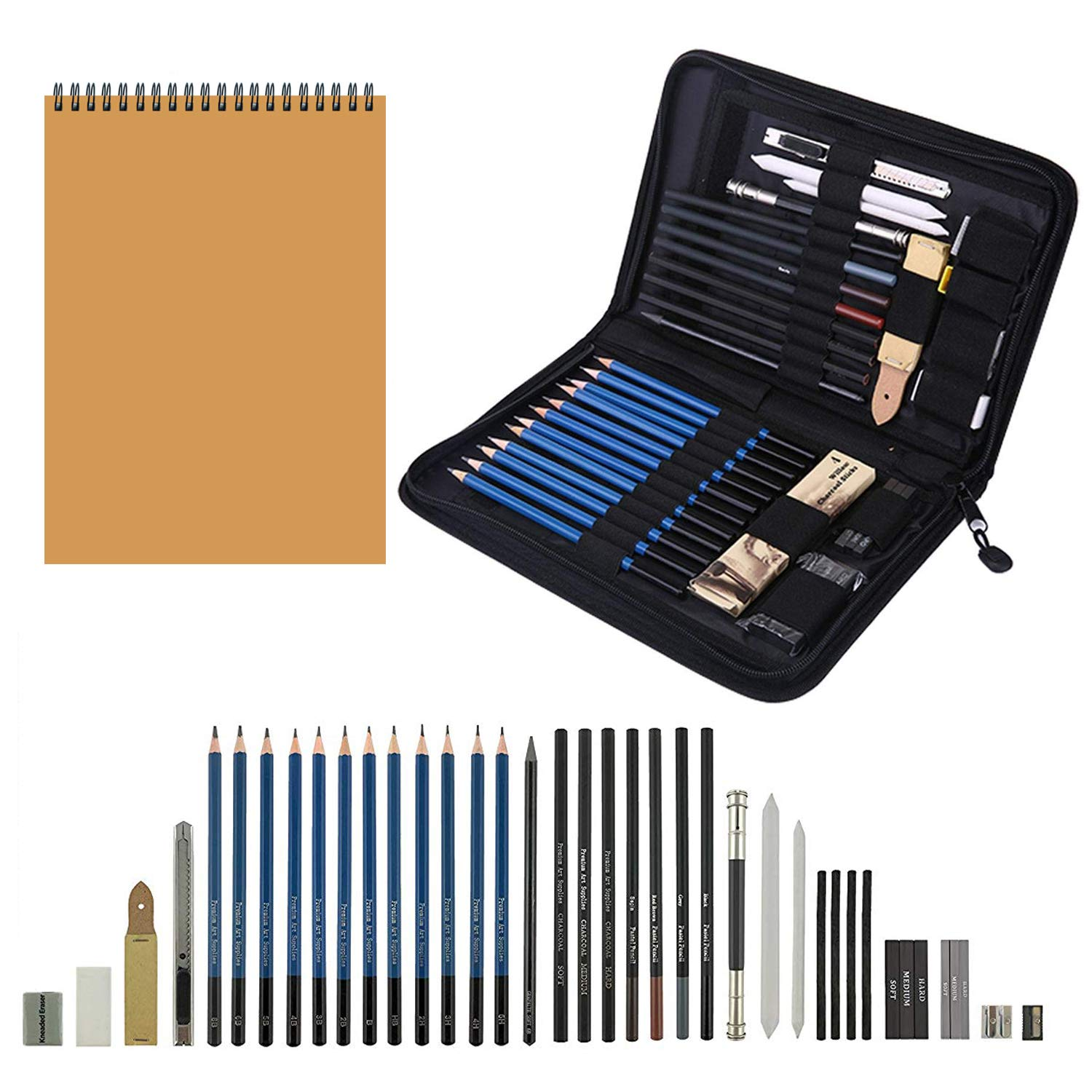 Sketching pencil setportable art kit for drawing professional art supplies kit with charcoal graphite pencils sketch book erasers for artist student