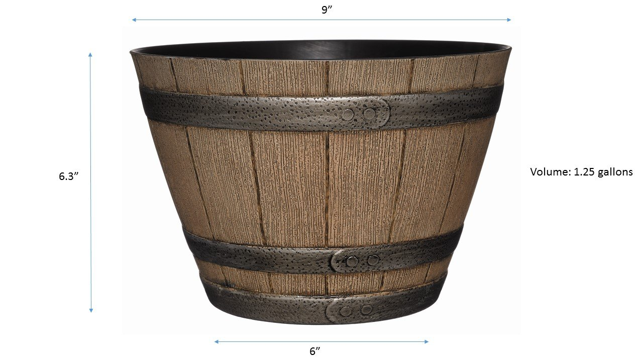 Amazon.com : GARDENGOODZ Whiskey Barrel Planter, Distressed Oak, 9 ...