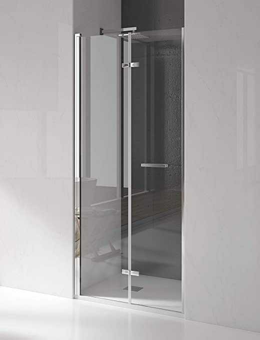 Mampara de ducha frontal de 2 hojas plegables - Cristal de Seguridad de 6 mm - Modelo SILKE: Amazon.es: Bricolaje y herramientas