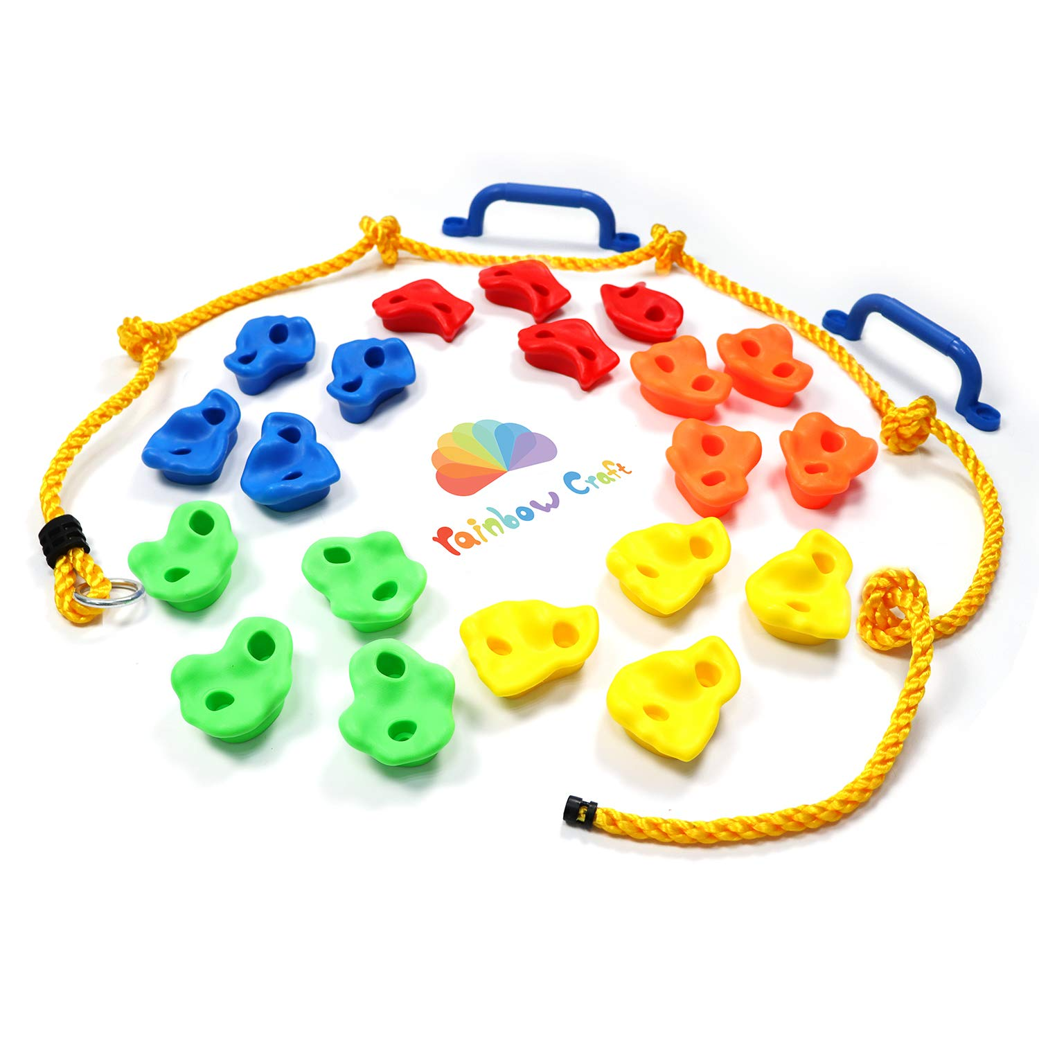 Rainbow Craft DIY Monkey Rock Climbing Holds Set Buddles of 20Pc with 2Pc Handles and 8Ft Knotted Rope for Kids Outdoor Play Includes Mounting Screws and Hooks by Rainbow Craft