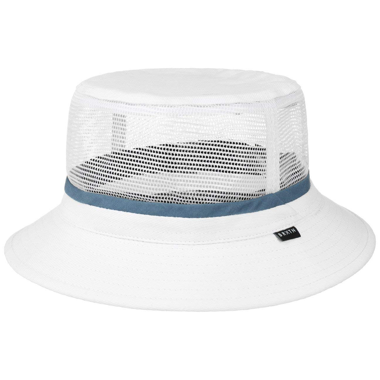 7be95661 Galleon - Brixton Hardy Bucket Hat - White/Blue - MD