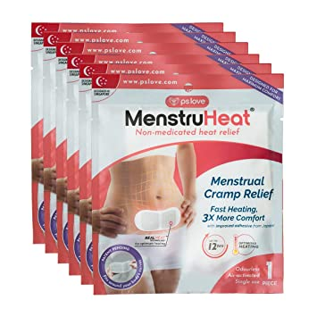menstruheat heating pad for menstrual cramp relief and pms comfort from  period pain - pack of