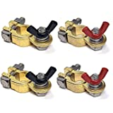 WindyNation 2 Pairs Brass Marine Grade Battery Terminal Top Post for Boat Car RV (Military Spec. B-12128C)
