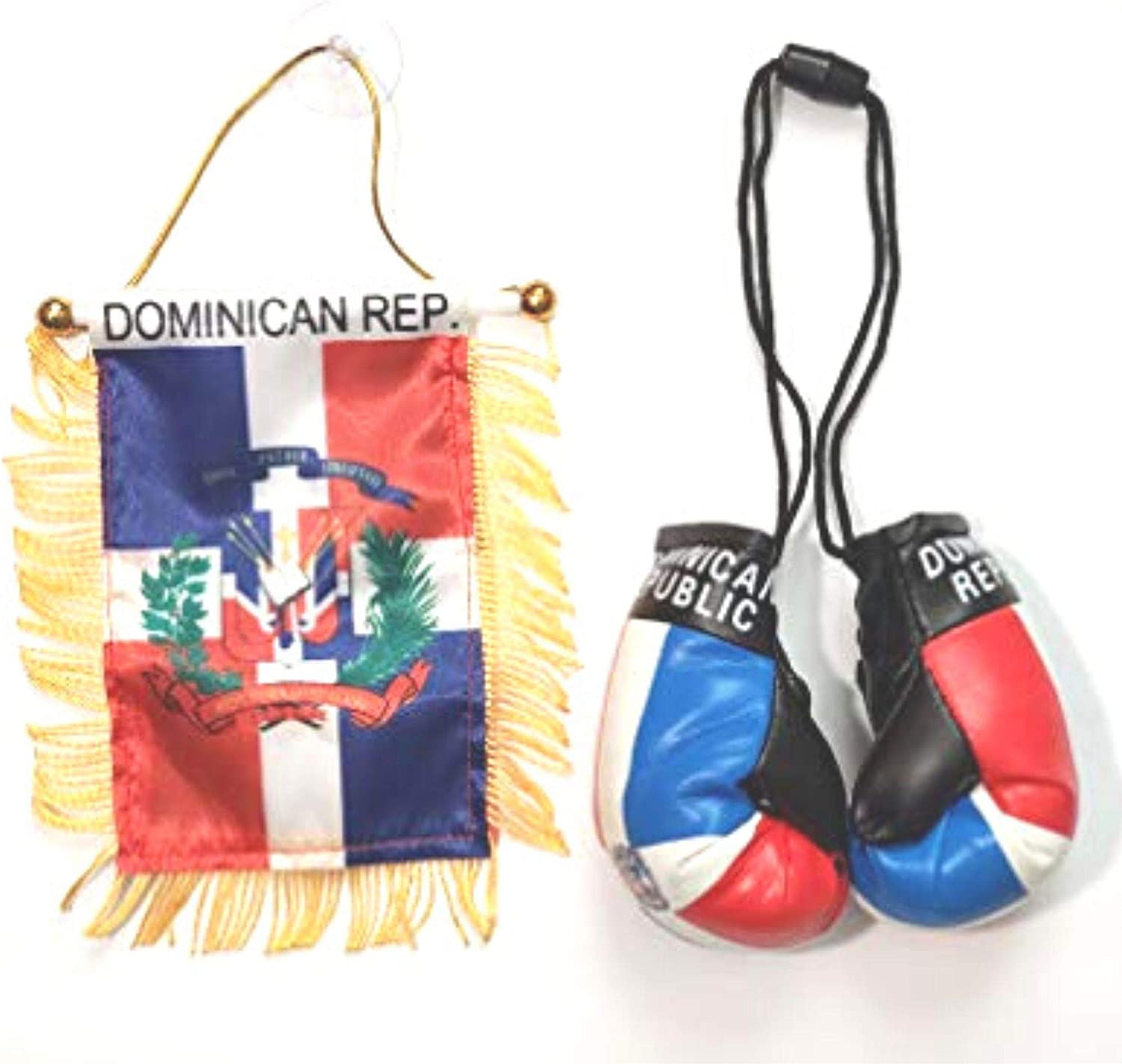 Rainbow Trading Flag and Boxing Gloves Combo Car Rear-View Mirror Office Decor (Dominican Republic)