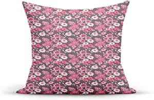 ETHAICO Decorative Throw Pillow Cover,Tones Floral Pattern English Garden,Outdoor Indoor Square Cushion Covers for Home Sofa Couch 18x18 inch