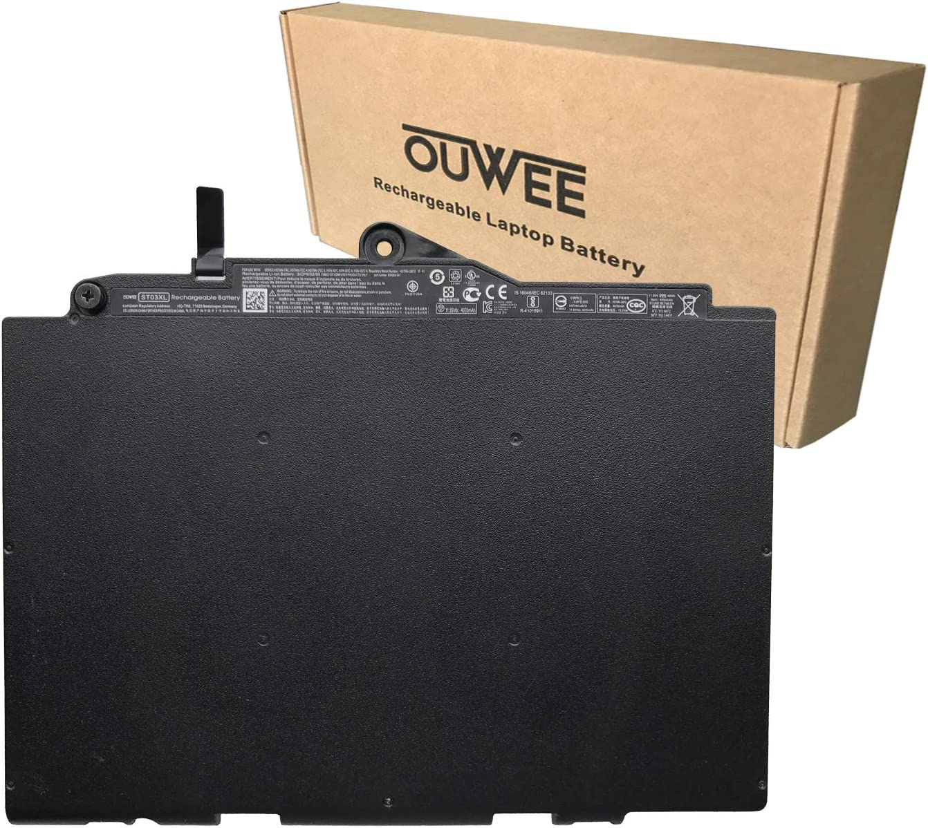 OUWEE ST03XL Laptop Battery Compatible with HP EliteBook 820 725 G3 G4 828 G4 Series HSTNN-UB7D 854050-541 854109-850 HSN-I01C HSN-I02C-4 SN03XL HSTNN-I74C HSTNN-I75C-4 11.55V 49Wh 4250mAh