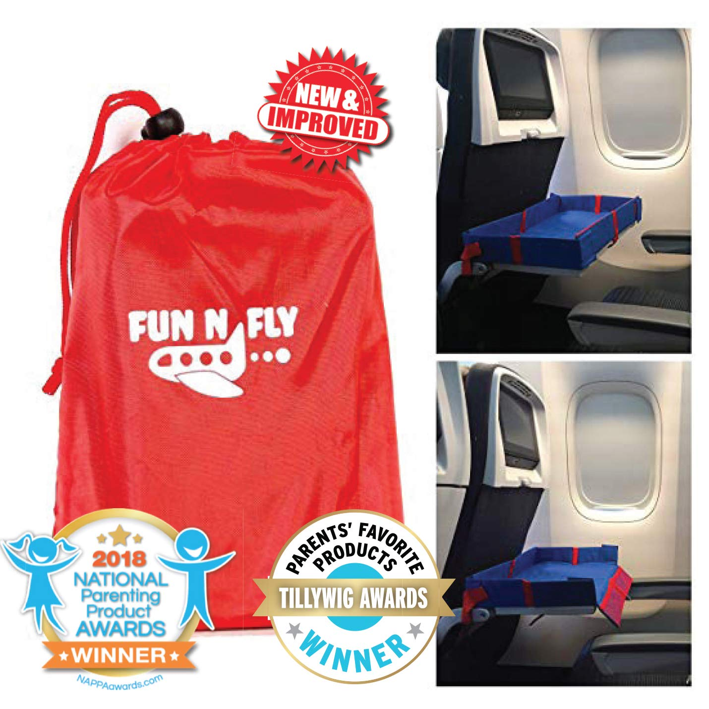 Fun N' Fly Foldable Travel Tray - Blue Red Portable Durable Kids, Toddler, Baby Play Space and Snack Desk for Airplane Travel by FunnFly by Mommy Brain Creatives