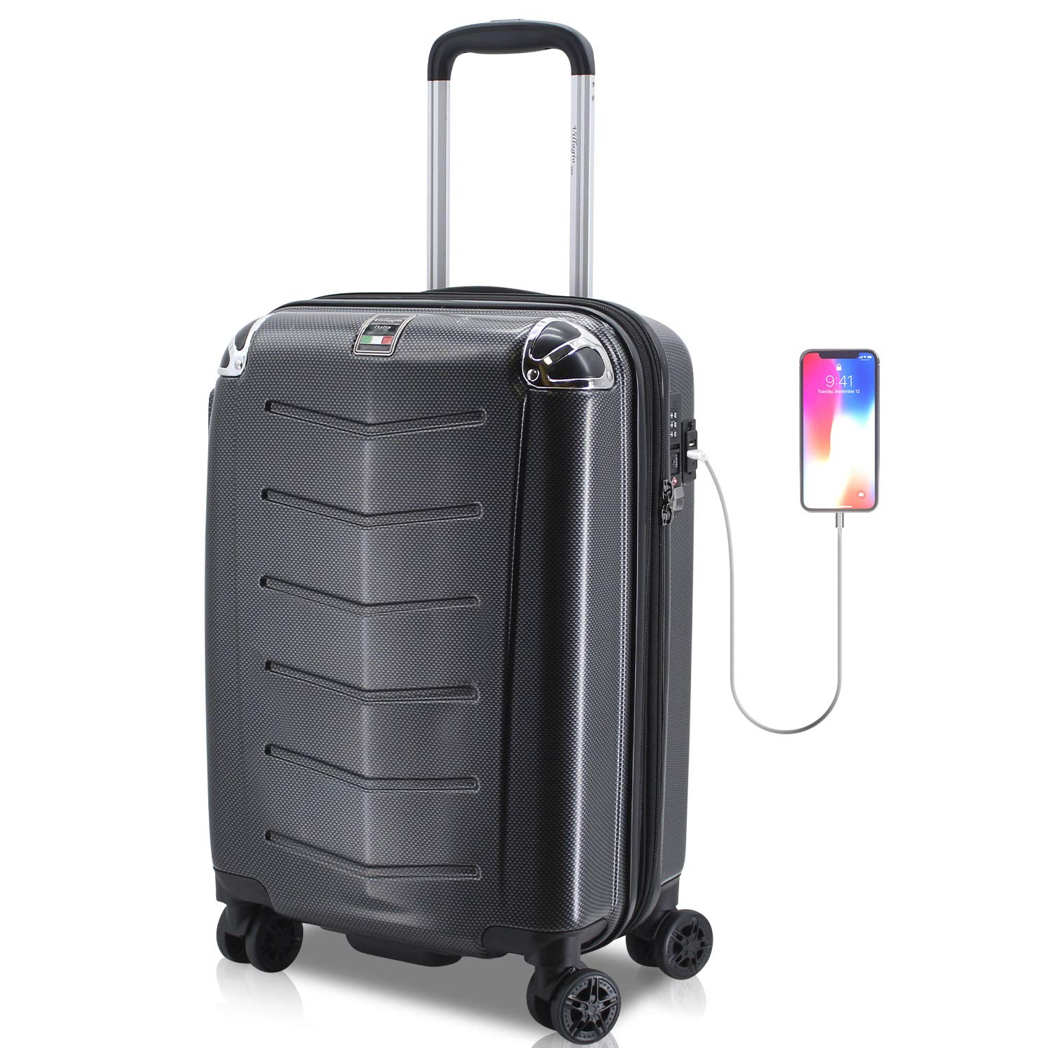 Amazon.com | Villagio Hardshell Luggage 21 Inch - USB Port Polycarbonate 8 Wheel Spinner with Slash Proof Zipper and TSA lock (21, Black) | Luggage Sets