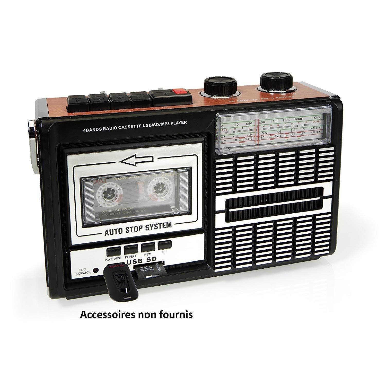 Ricatech PR85 - Back to the 80s - Reproductor y grabador de casetes | Radio AM / FM / SW, ranura USB, tarjeta SD y micrófono integrado