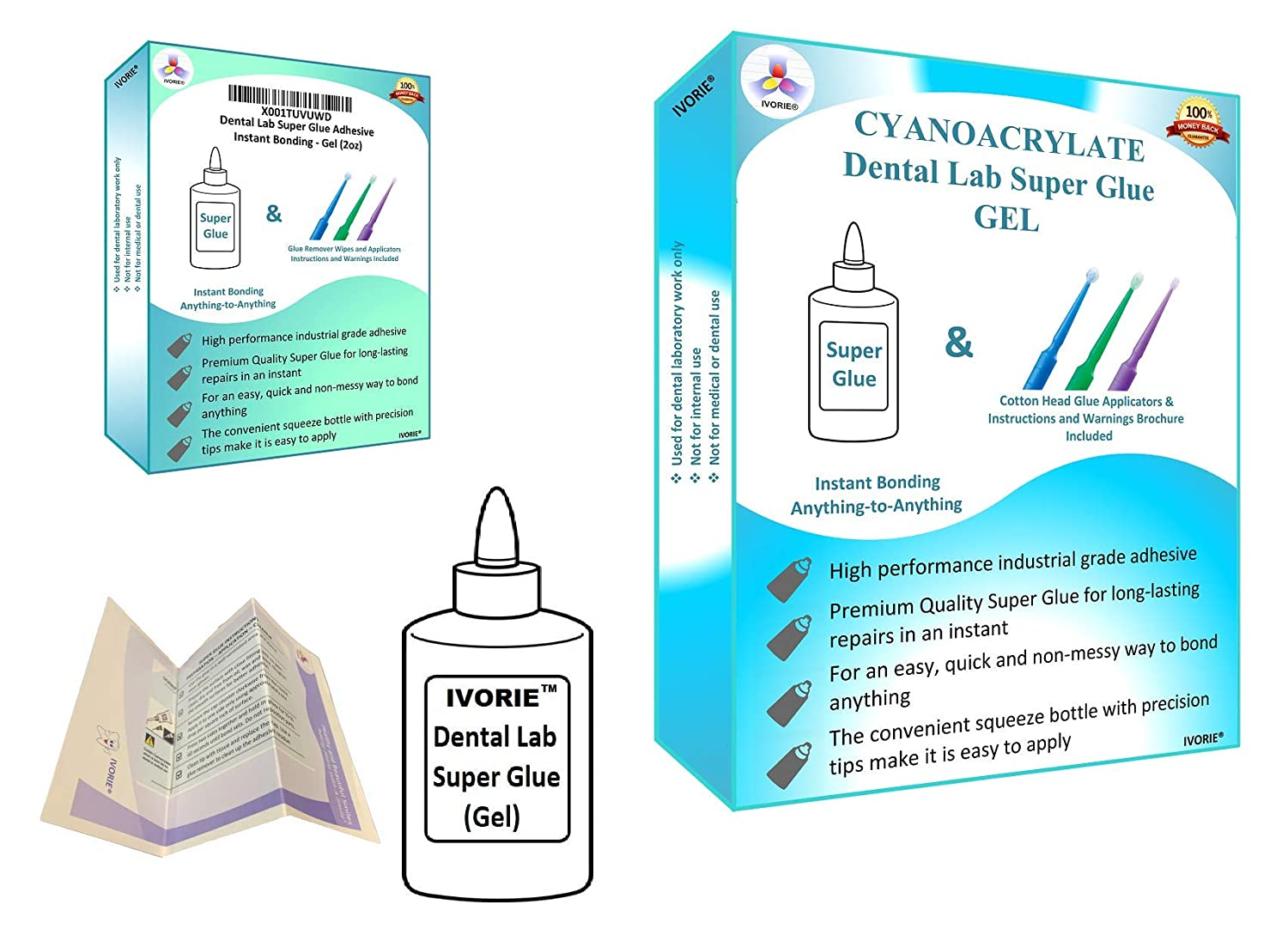 Dental Lab Super Glue Adhesive Instant Bonding - Gel (2oz)