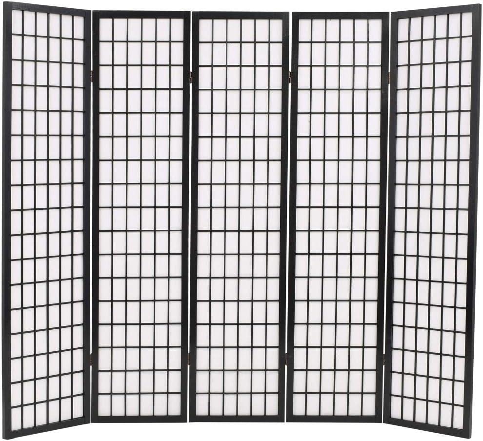 Festnight Divisor de Espacios Plegable Biombo Plegable con Paneles de Estilo Japonés (5 Paneles-200x170cm-Negro)