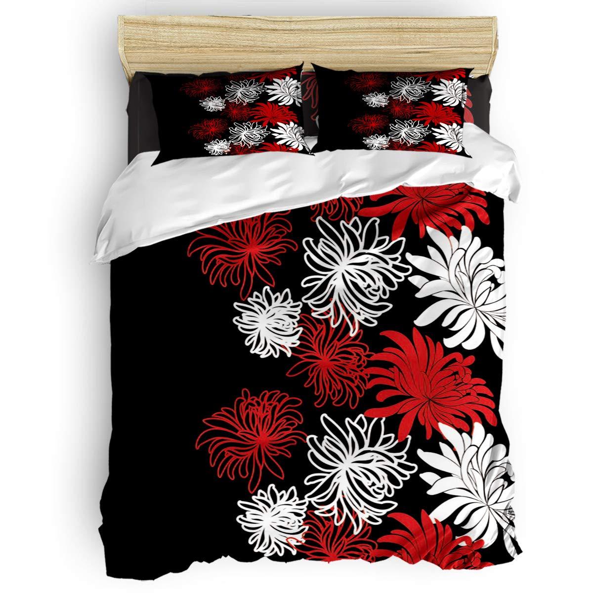 掛け布団カバー 4点セット 抽象 かもめビーチ 海 油絵デザイン 寝具カバーセット ベッド用 べッドシーツ 枕カバー 洋式 和式兼用 布団カバー 肌に優しい 羽毛布団セット 100%ポリエステル セミダブル B07TGB8VPB Flower47LAS1353 セミダブル