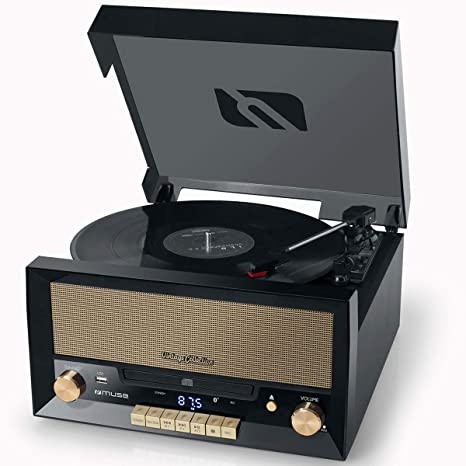 Muse MT-110B tocadisco - Tocadiscos (Tocadiscos de tracción directa, Negro, Marrón, Madera, 33,45,78 RPM, Giratorio, CD,CD-R,CD-RW)