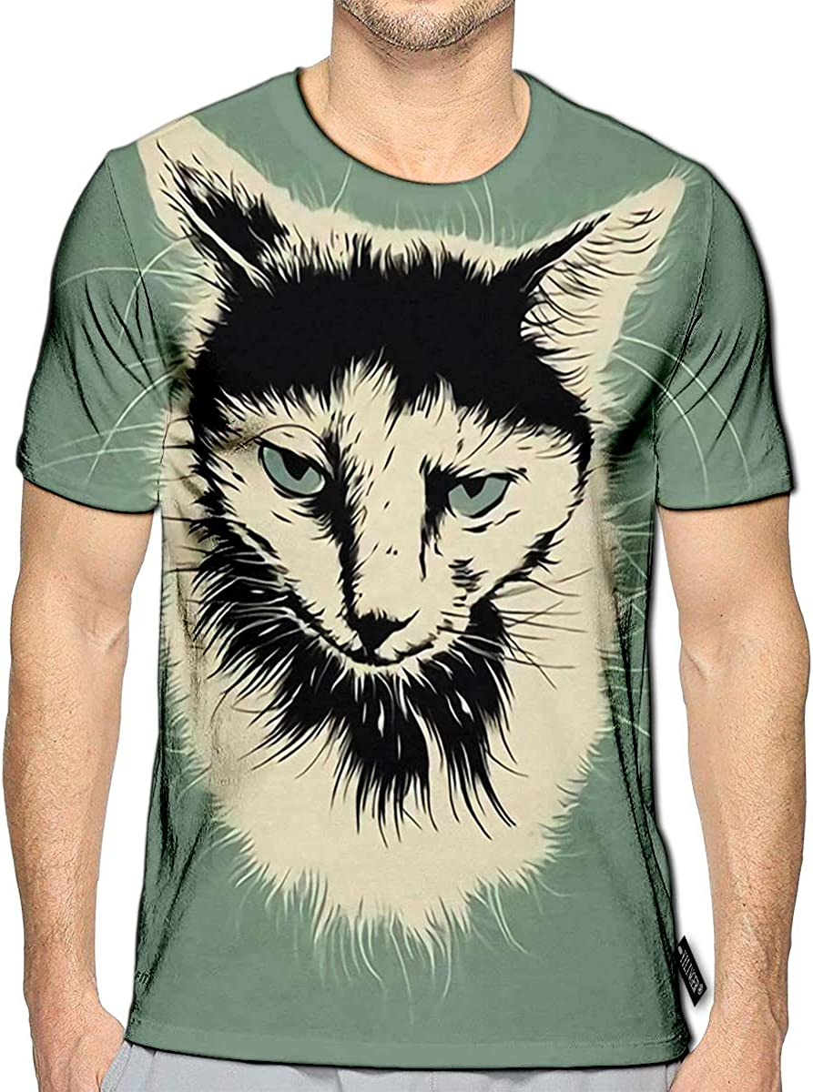 3D Printed T-Shirts Sad White and Black Cat Portrait On Gray Short Sleeve Tops Tees