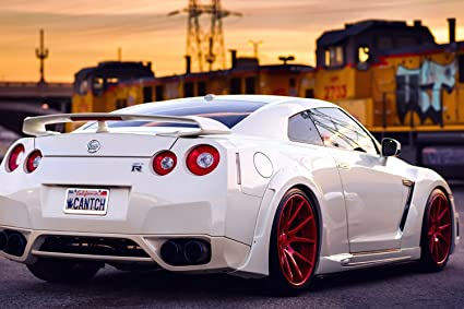 Nissan GTR White Sunset Car Silk Poster 36x24 Inches