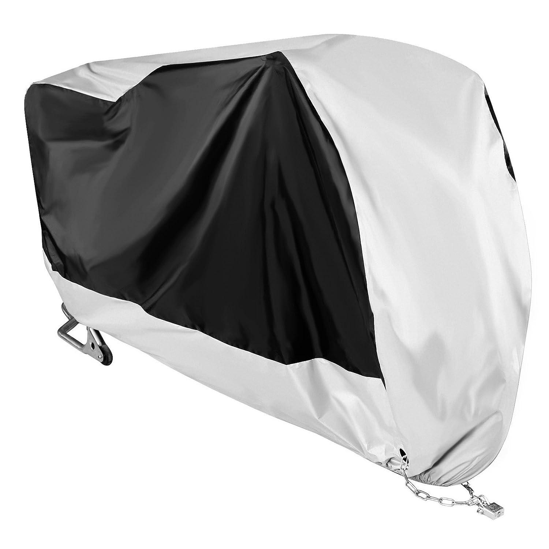 NOVSIGHT Talla XXXL Funda para Motocicleta 190T Cubierta de Moto Scooter Interiores con Orificios de Bloqueo de Seguridad Plata
