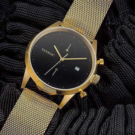 Reloj hombre RELOJ tayroc Boundless Oro Classic cronógrafo acero inoxidable cuarzo reloj de pulsera txm090: Amazon.es: Relojes