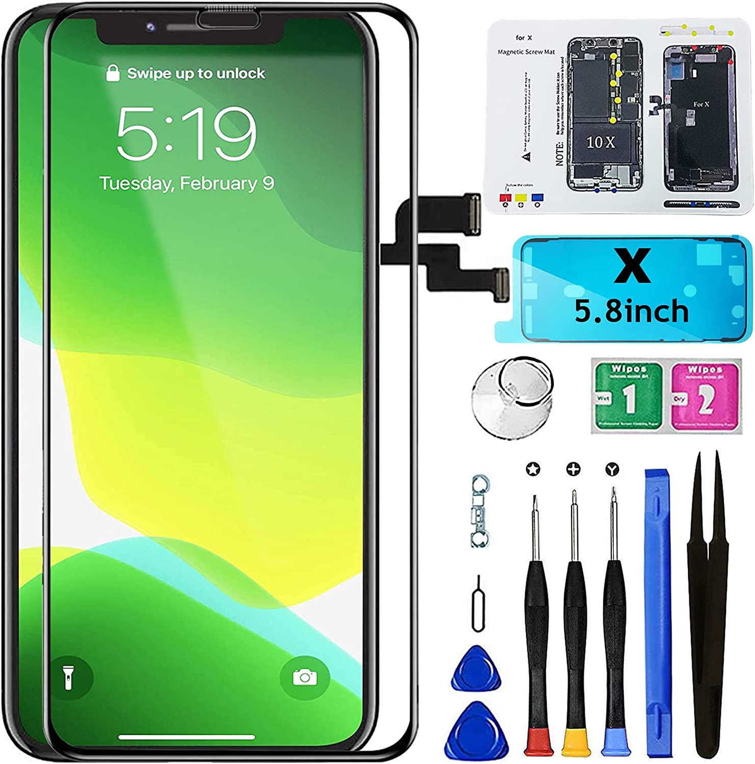 Mobkitfp for iPhone X Screen Replacement 5.8 inch, LCD Display Digitier with 3D Touch & Face ID for A1865/A1901/A1902 with Repair Tools+Waterproof Adhesive+Screen Protector