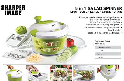 The Sharper Image 5 In 1 Salad Spinner 5 Quart Amazonca Home