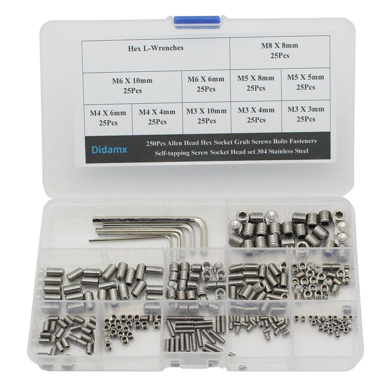 Stainless Steel Self-Tapping Grub Screws Assortment Kit Set Hex Socket Screw