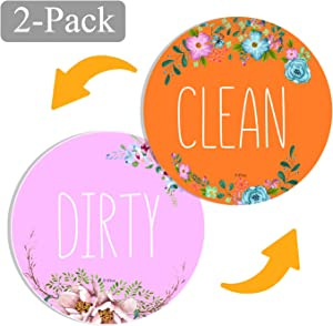 Newest Design 2-Pack Dishwasher Magnet Clean Dirty Sign Indicator,Universal Double Sided Kitchen DishWasher Magnet, Bonus Magnetic Plate For Kitchen Organization By PuFivewr! (Orange flower)
