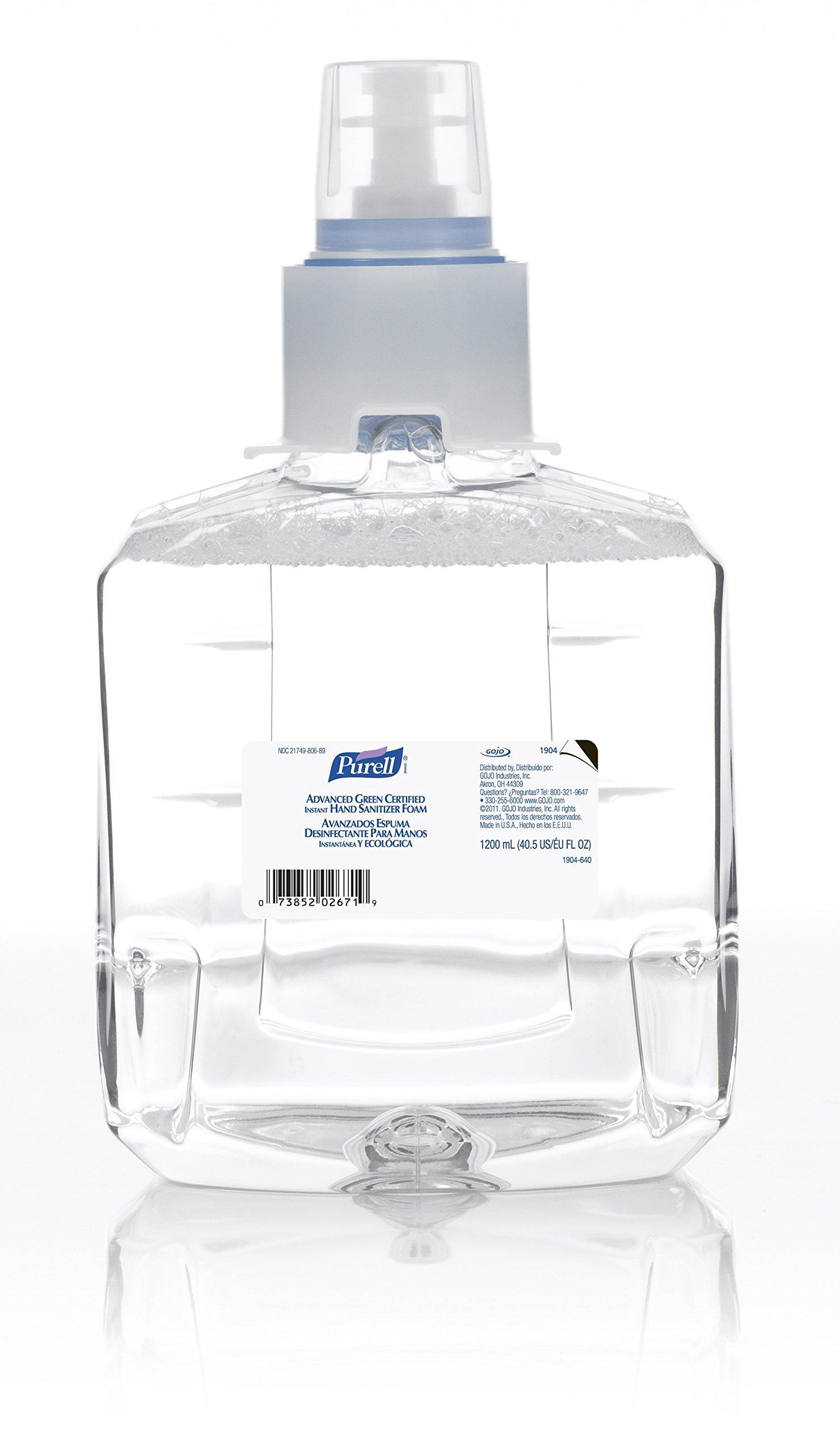 PURELL LTX-12 Advanced Green Certified Instant Hand Sanitizer Foam, Fragrance Free, 1200 mL Sanitizer Refill for PURELL LTX-12 Touch-Free Dispenser - 1903-06-EC