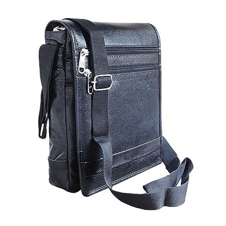 ABYS Genuine Leather Black Unisex Shoulder Bag||Coin Purse||Travel Bag||Messenger Bag with Adjustable Strap