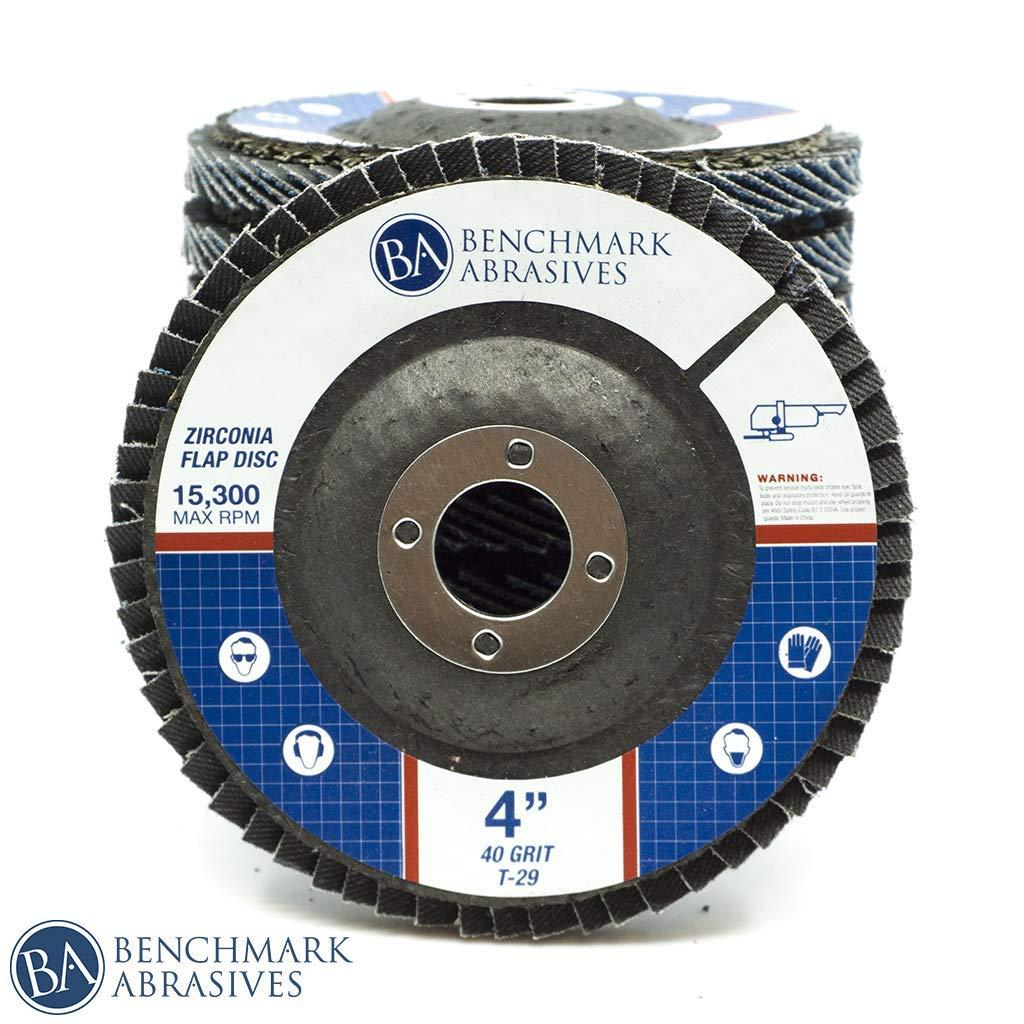 80 Grit 10 Pack Benchmark Abrasives 4 x 5//8 Premium Type 29 Zirconia Flap Discs