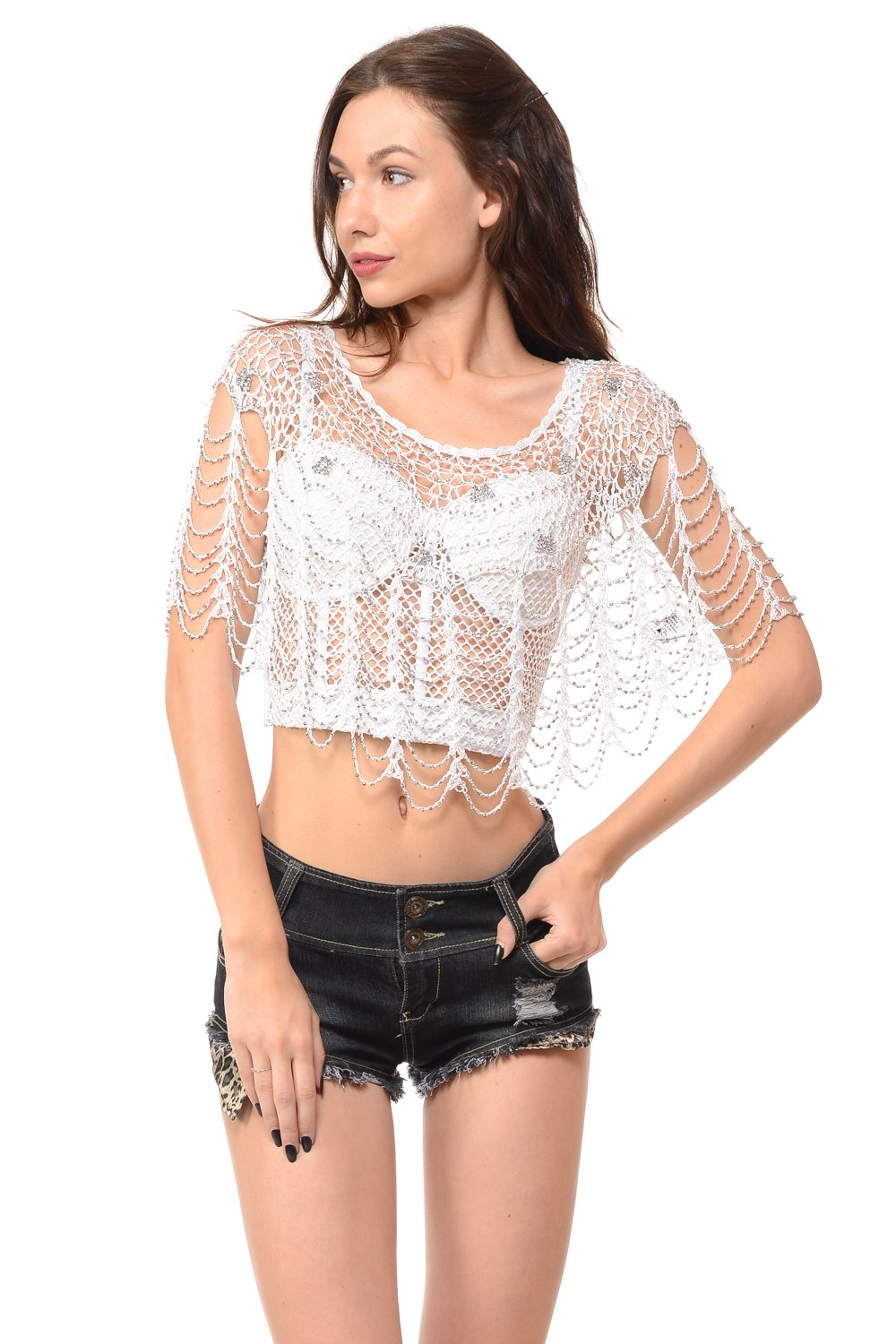 Sexy Tunic Metallic Beaded Web Styles Shawl Crochet Poncho Short Cape Flapper Top (One, White)