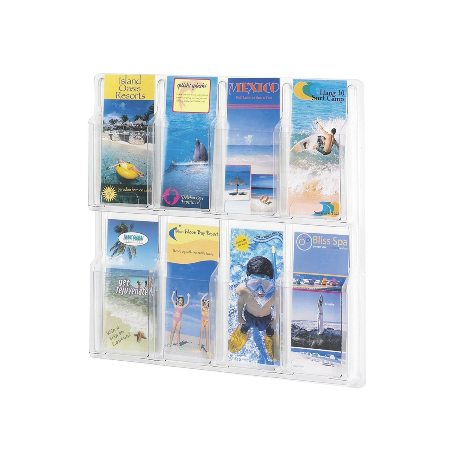 Safco Products 5608CL Reveal Literature Display, 8  Pamphlet, Clear