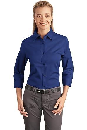 7cef6def Port Authority Women's 3/4 Sleeve Easy Care Shirt 4XL Mediterranean Blue