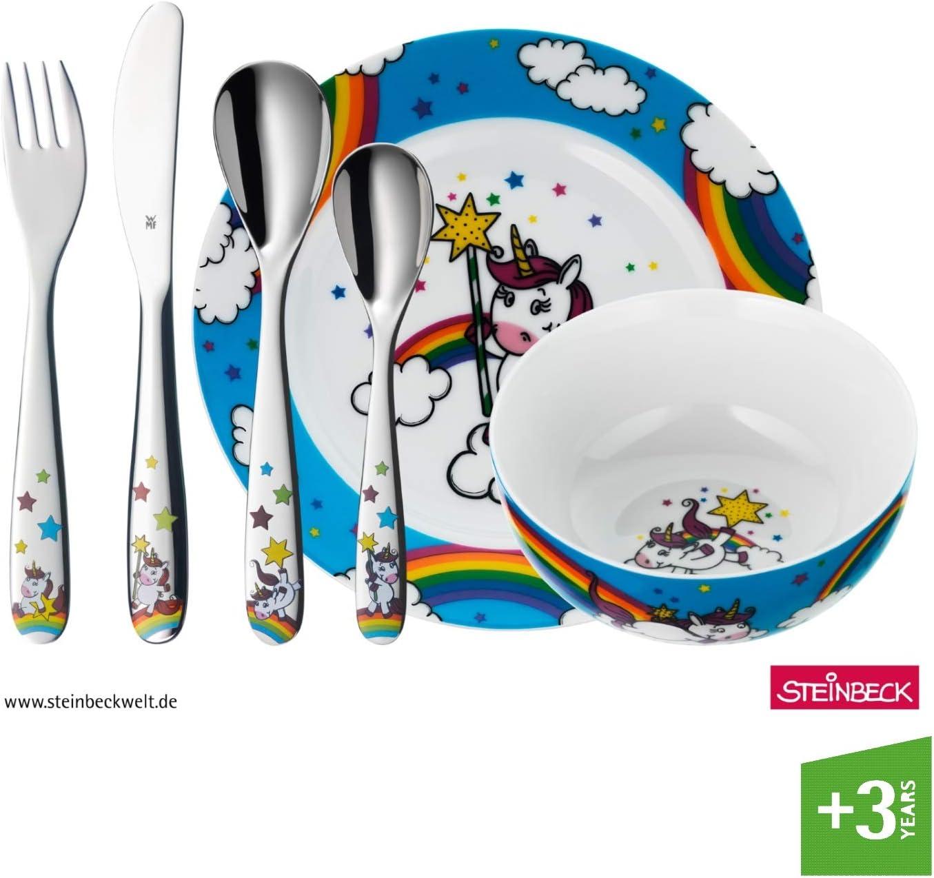WMF Unicornio - Vajilla para niños 6 piezas, incluye plato, cuenco ...