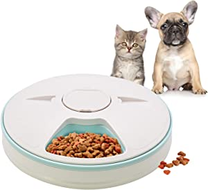 GreeSuit Automatic Pet Feeder for Dogs Cats Small Animals with Programmable Digital Timer, 6 Meal Trays Dry Wet Food Dispenser Feeder, Portion Control Auto Pet Feeder 6x180ml