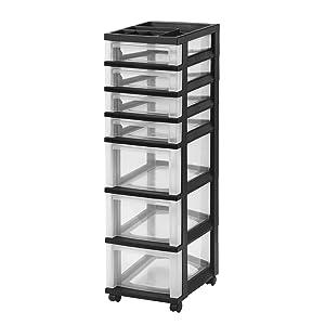 IRIS 7-Drawer Rolling Storage Cart with Organizer Top, Black