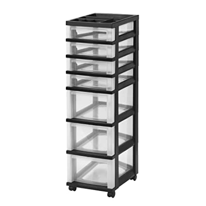 IRIS 7 Drawer Rolling Storage Cart With Organizer Top, Black