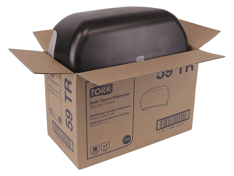 Tork 59TR Twin Bath Tissue Roll Dispenser, Plastic, 8.25